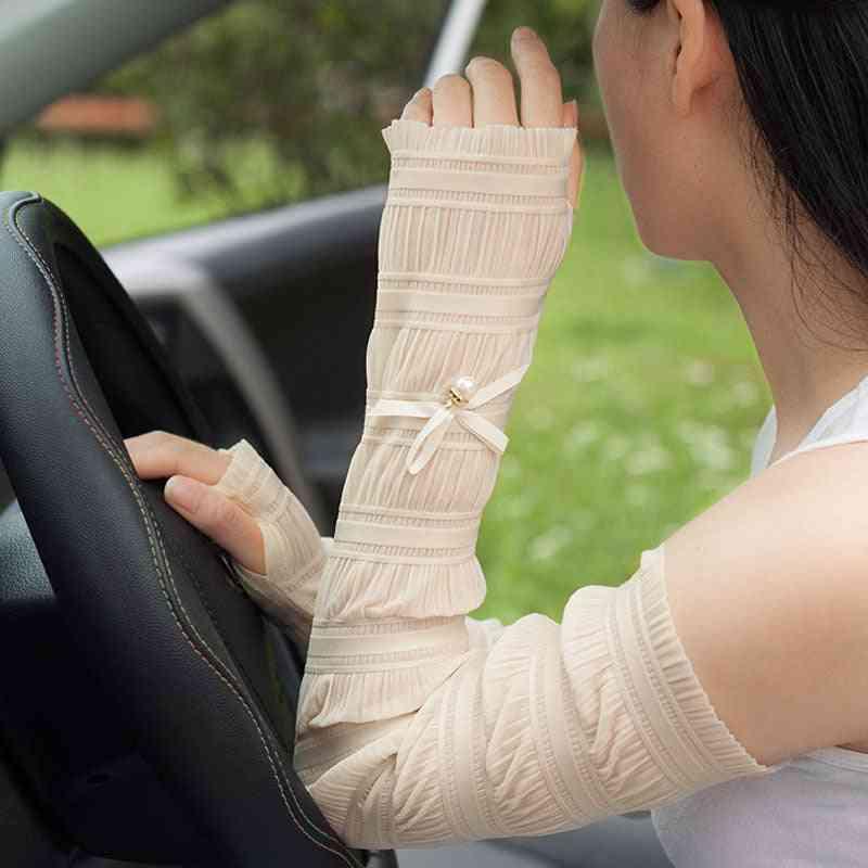 Elegant Long Sleeve Lovely Bow Cool Sun Protection Net Yarn Women Arm Covers