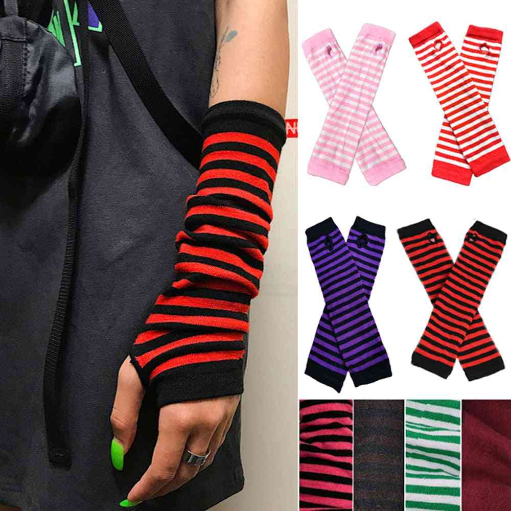 Warmer Knitted Long, Fingerless, Striped Elbow Gloves For Women's