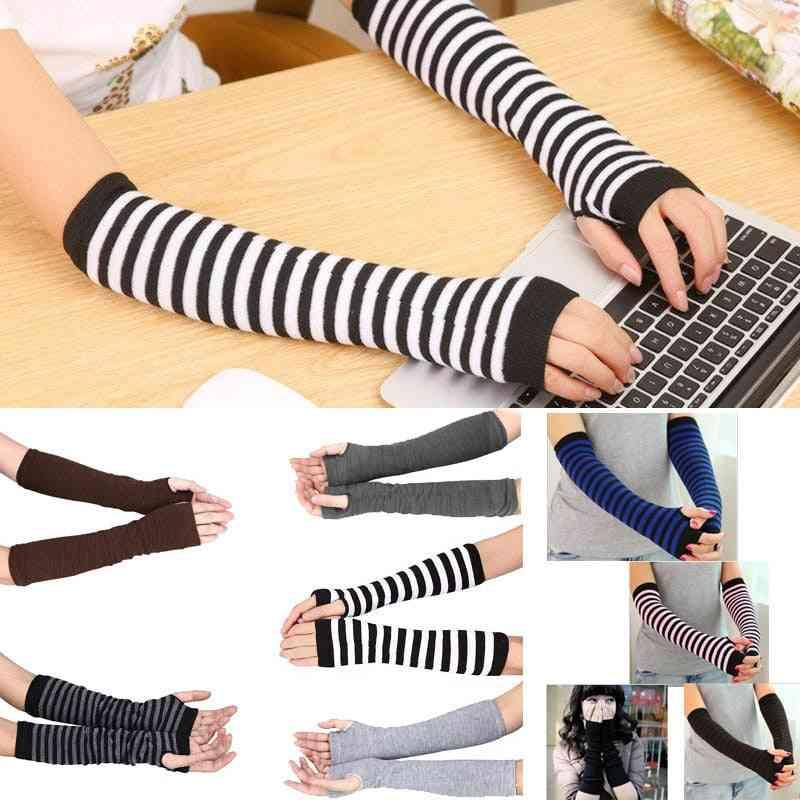 Long Sleeve Striped Winter Autumn  Fingerless Gloves