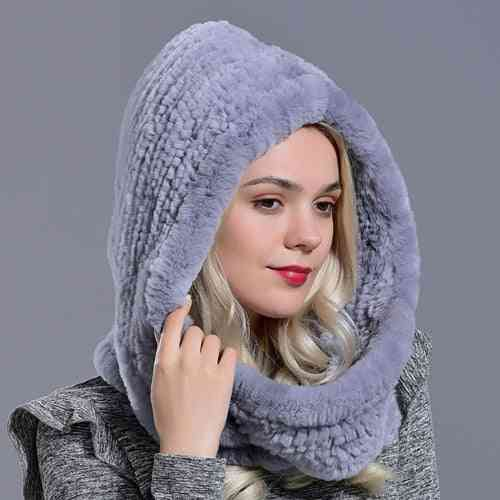 Winter Warm Novelty Knitted Fur Scarf Hat