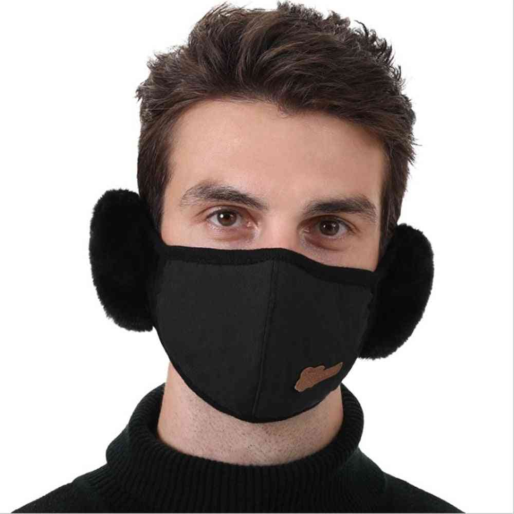 2 In 1 Earmuffs-mouth Mask, Windproof Winter Soft Thick, Warm Ear Cover Solid Headphone Earlap