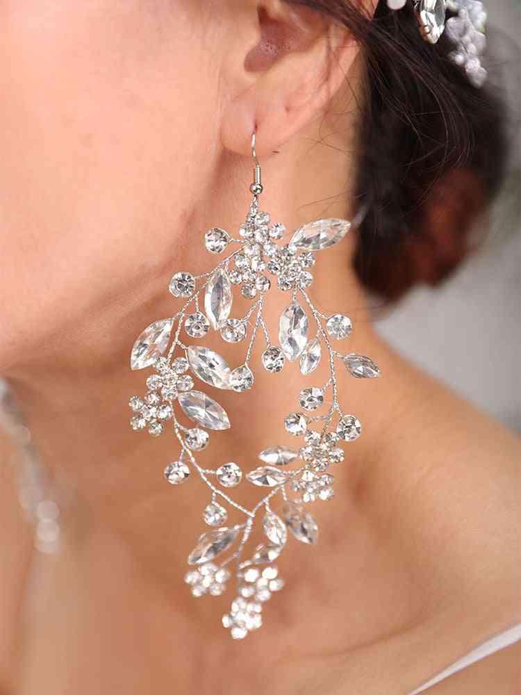 Wedding Hairstyles Silver Headdress Jewelry Crystal Headband And Earrings Set