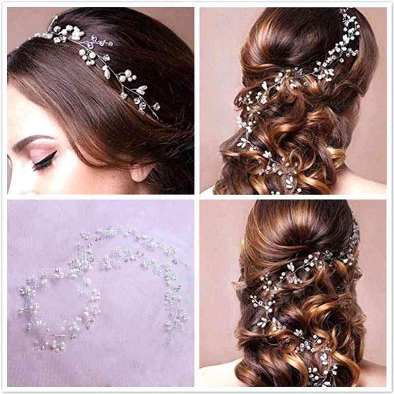 Crystal Pearl Hair Belt Wedding Bridal Ornaments