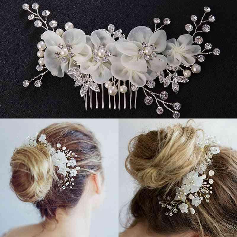 Fashion Head Dress Bridesmaid, Pearl Flower Crystal Hair Pins Clip