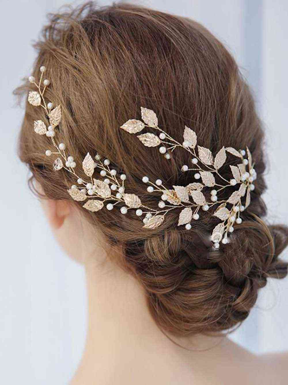 Vintage Leaves And Floral, Crystal Pearl Flower Headband - Hair Accessories