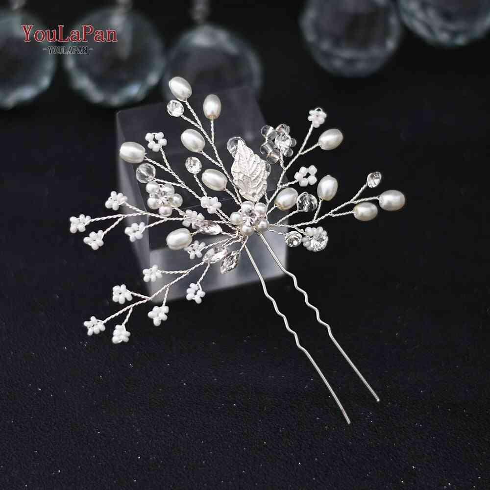 Crystal Pearl, Bridal Headband Hair Pins Clips For Bride Wedding