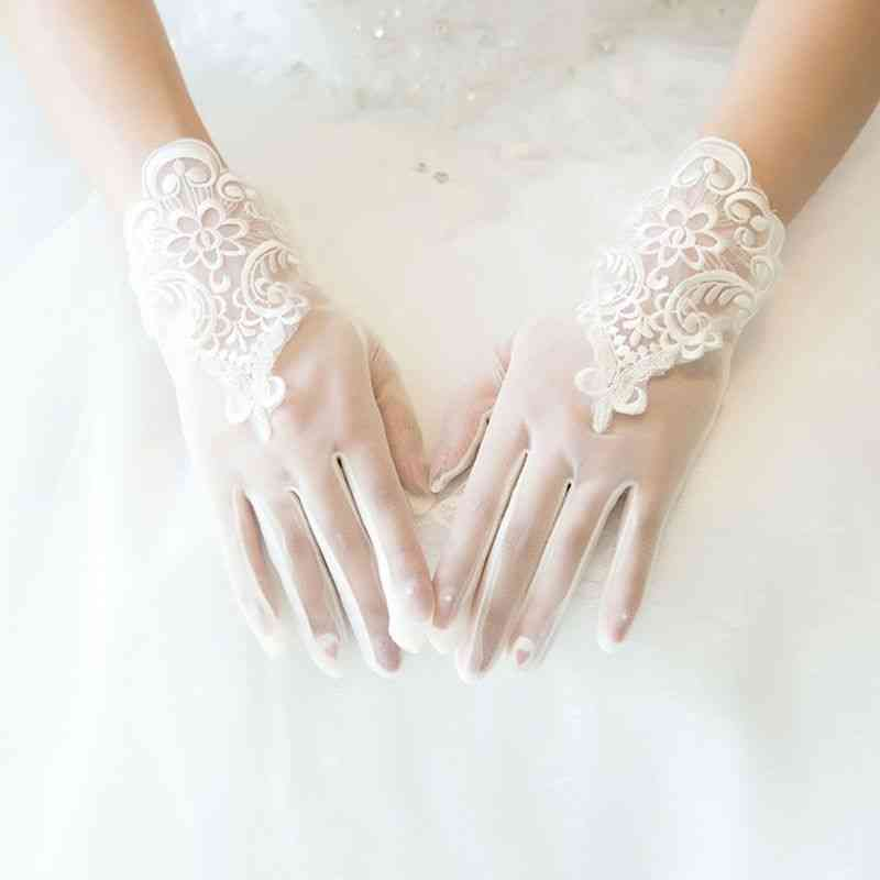 Glamour Lace, Short Paragraph, Mittens Dresses, Charming Glove With Fingers