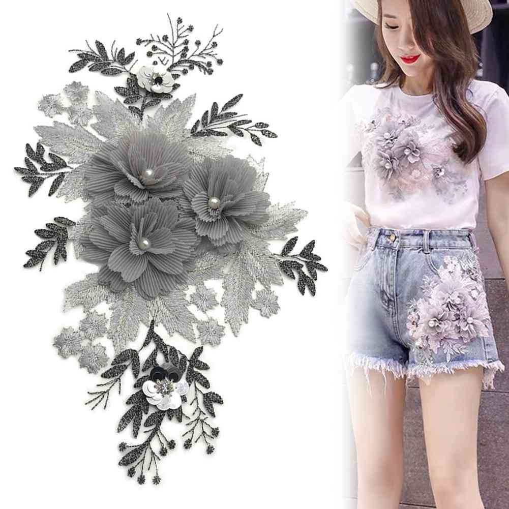 Beaded Flower Lace Embroidery Patch Sticker Clothes T-shirt,  Cute Patches On Clothes