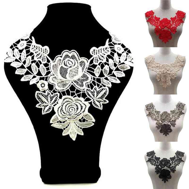Fabic Embroidered Applique Patch, Neckline, Floral Lace Collar