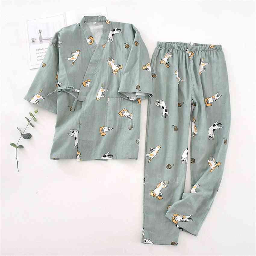 Cotton Steaming Wear Pajamas, Man & Woman Bathrobe Nightgown Set