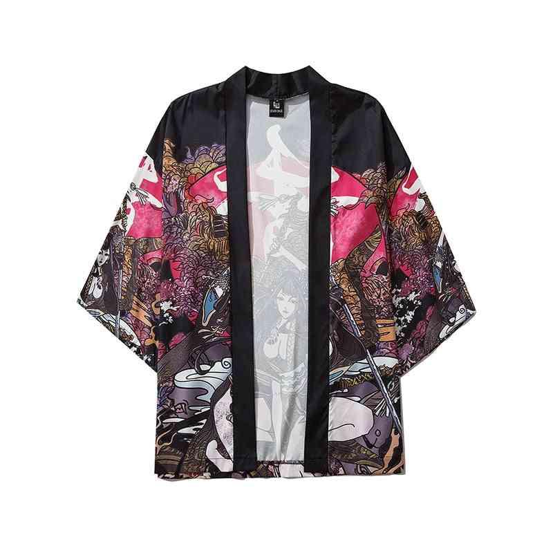Summer- Samurai Traditional Kimono, Japanese Anime, Cardigan Cosplay Shirt