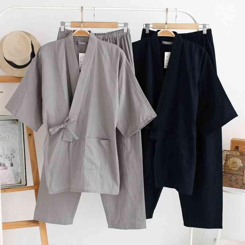 Traditional Japanese, Cotton Robe Pants, Kimono Nightgown, Pajamas Set