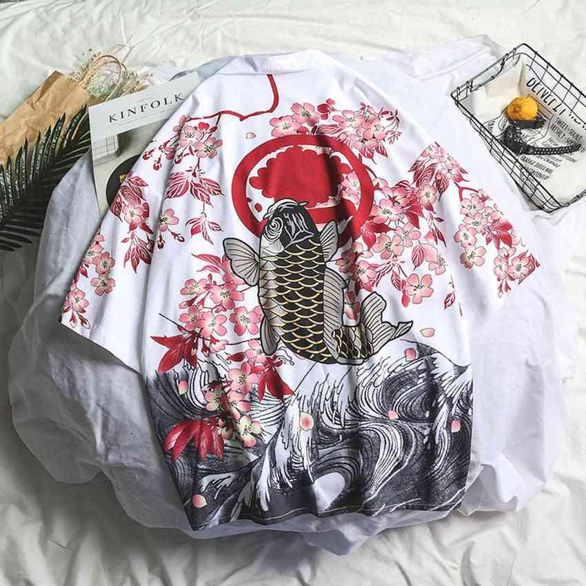 Traditional Samurai Crane, Cardigan Dragon, Japanese Style Kimono, Women