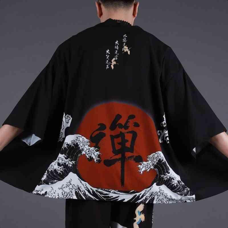 Japanese Kimono Cardigan, Samurai Jacket, Streetwear Shirt