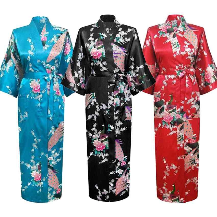 Long Style, Loose Japanese Satin, Peacock Yukata, Sleepwear Nightgown