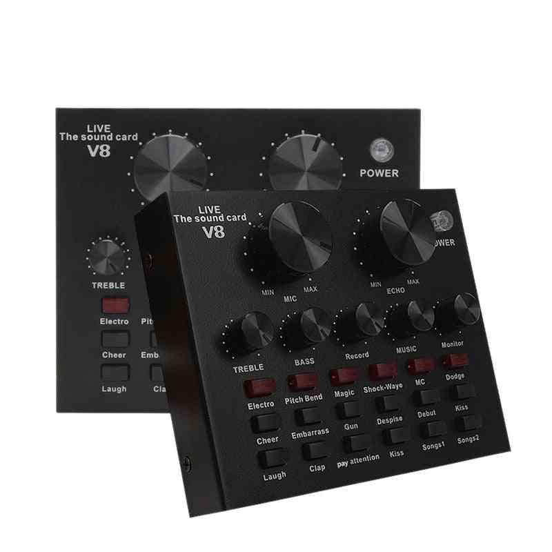 V8 Sound Card Audio Set Interface External Usb Live Microphone For Computer (black)