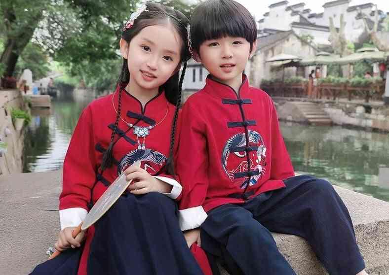 Children Tang Suit Dress Kung Fu Tops & Skirts / Pants