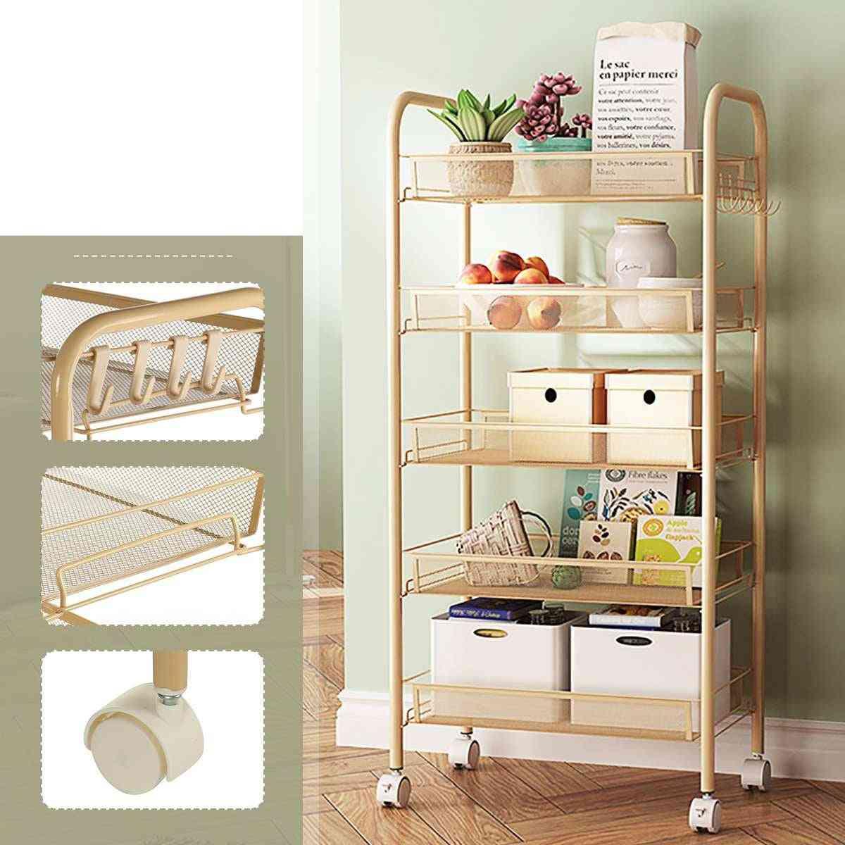 3/4/5 Tier Trolley Cart & Dining Shelf, Rack Basket Storage Drawers Wheels & Hook