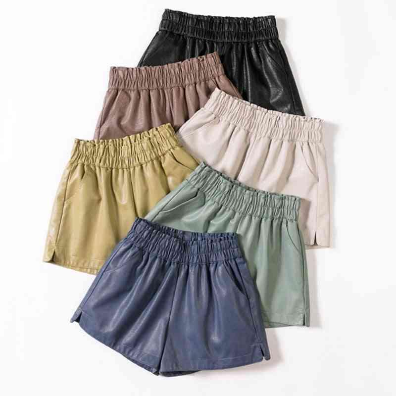 Elastic High Waist, Wide Leg, Biker Pu Leather Shorts