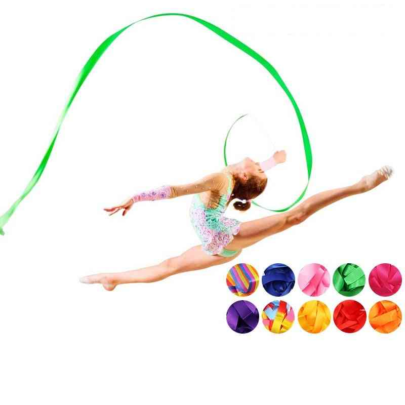 Colorful Rhythmic Art Gymnastics - Ballet Streamer, Twirling Rod Dance Ribbon