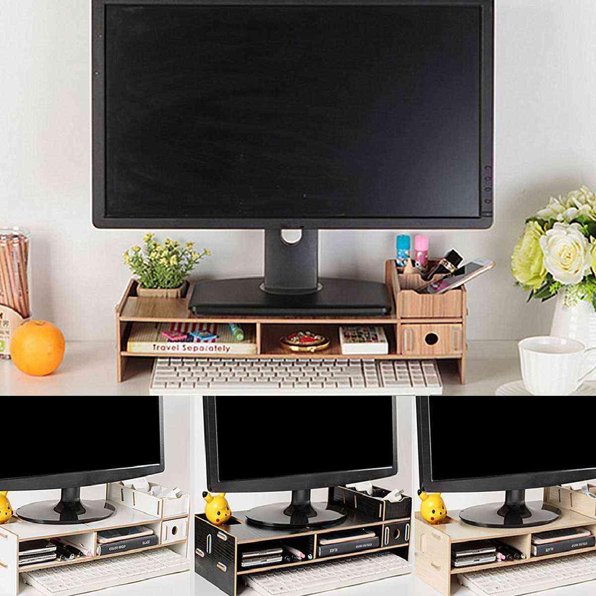 Multi-function Desktop Monitor, Wood Shelf Plinth Strong Stand