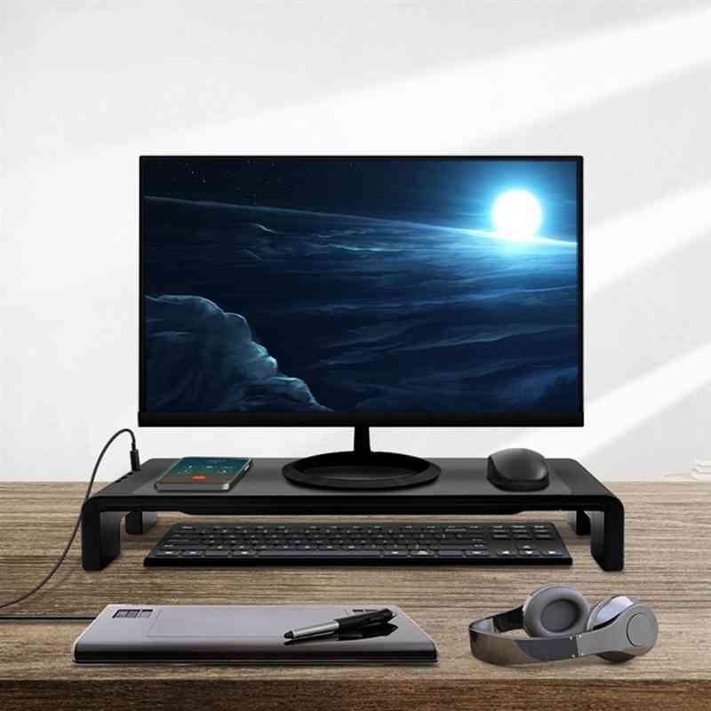Multi-function Base Holder, Desktop Monitor Screen Riser Usb 2.0 Charging Laptop Stand