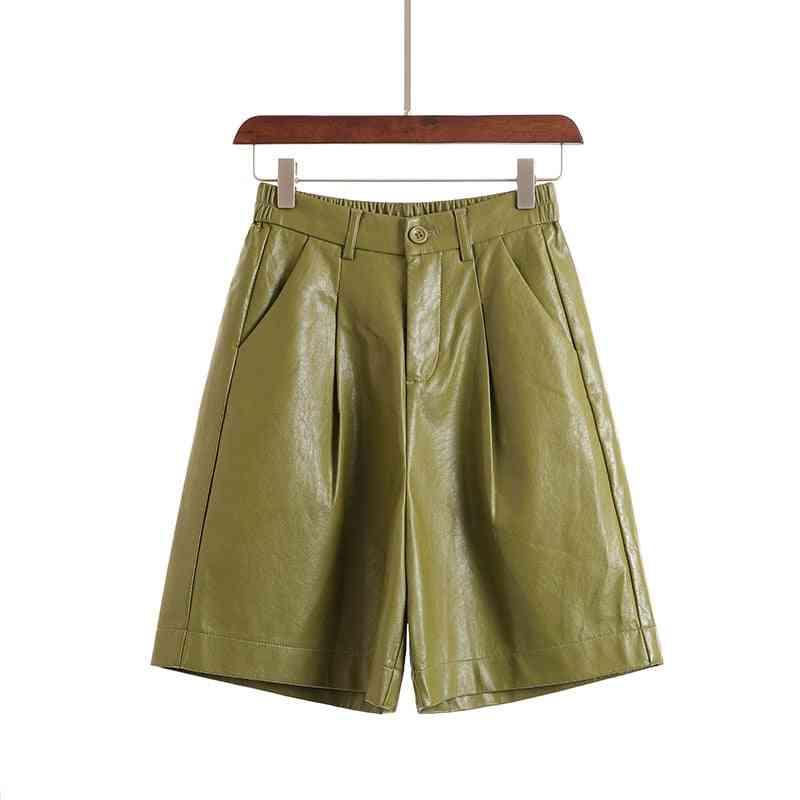 Autumn/winter- Leather Bermuda Elastic Waist, Loose Five-points, Trouser Shorts