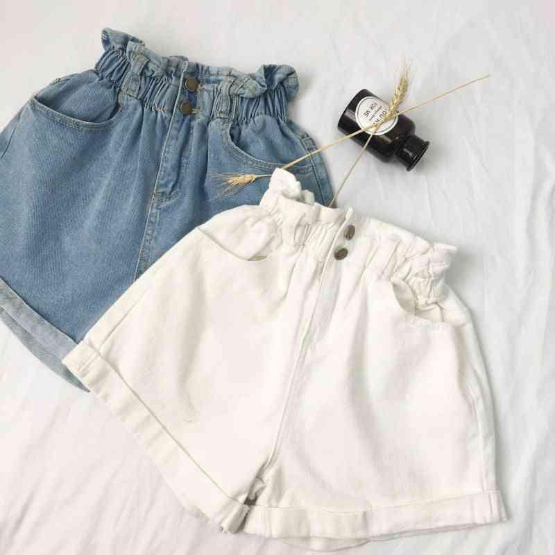 Summer High-waist, Denim Casual Loose, Roll-up Shorts Jeans