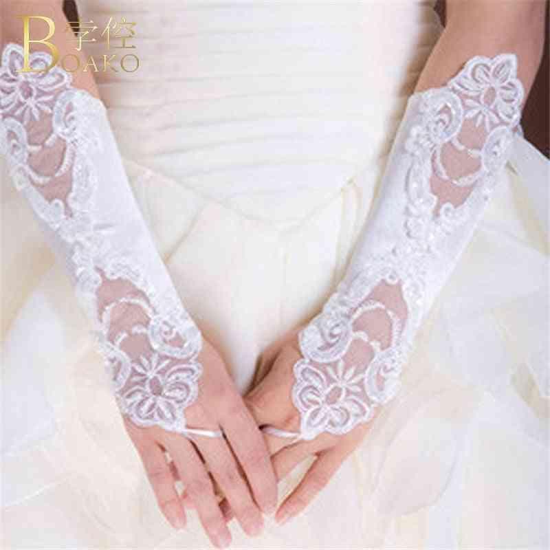 Women Fingerless Bridal Gloves, Long Lace Glove