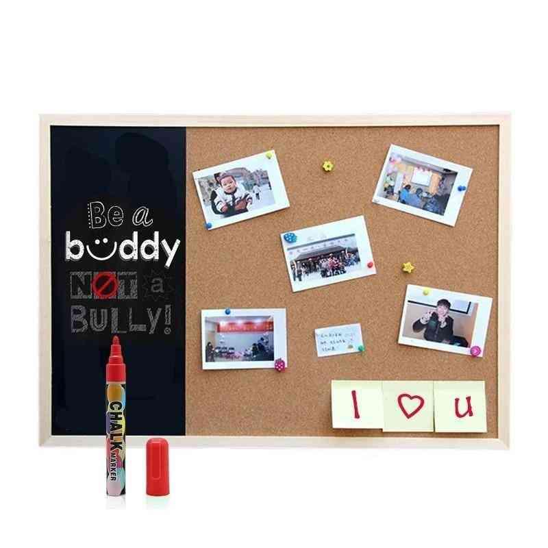 Wooden Frame Message Bulletin Blackboard, Cork Board