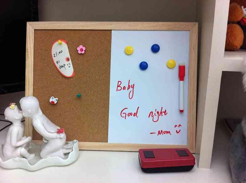 Pine Wood Combination Half Whiteboard, Corkboard -bulletin Message Boards