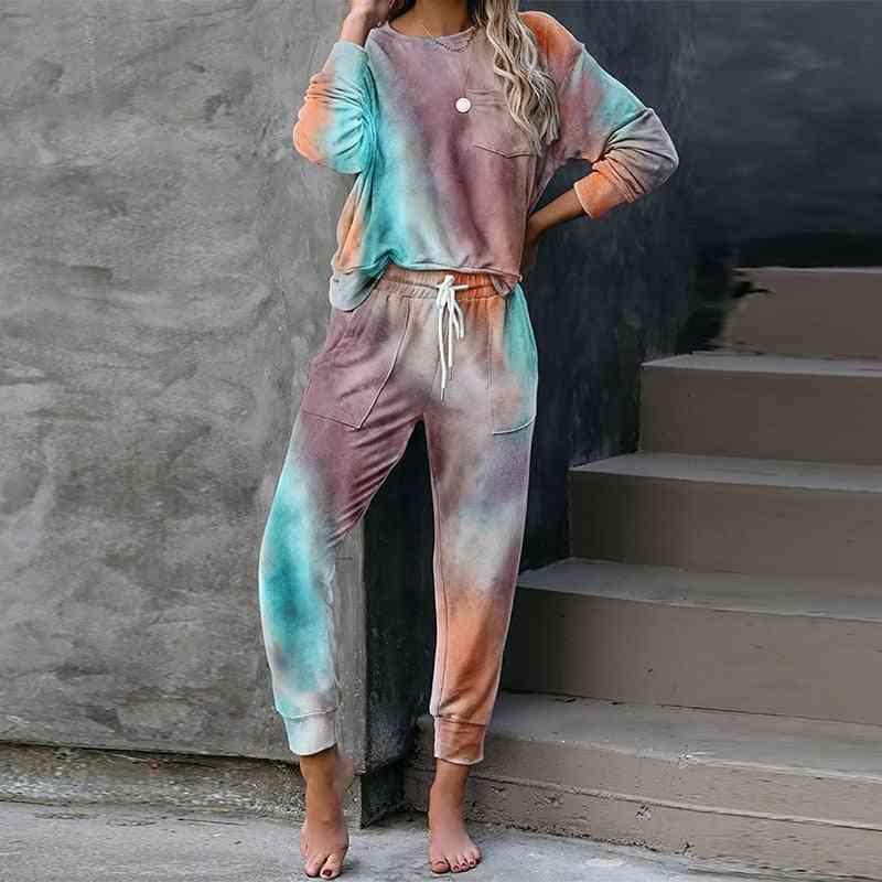Autumn Tie Dye Pajama Set, Sleep Wear Lounge Sleeping Nightwear