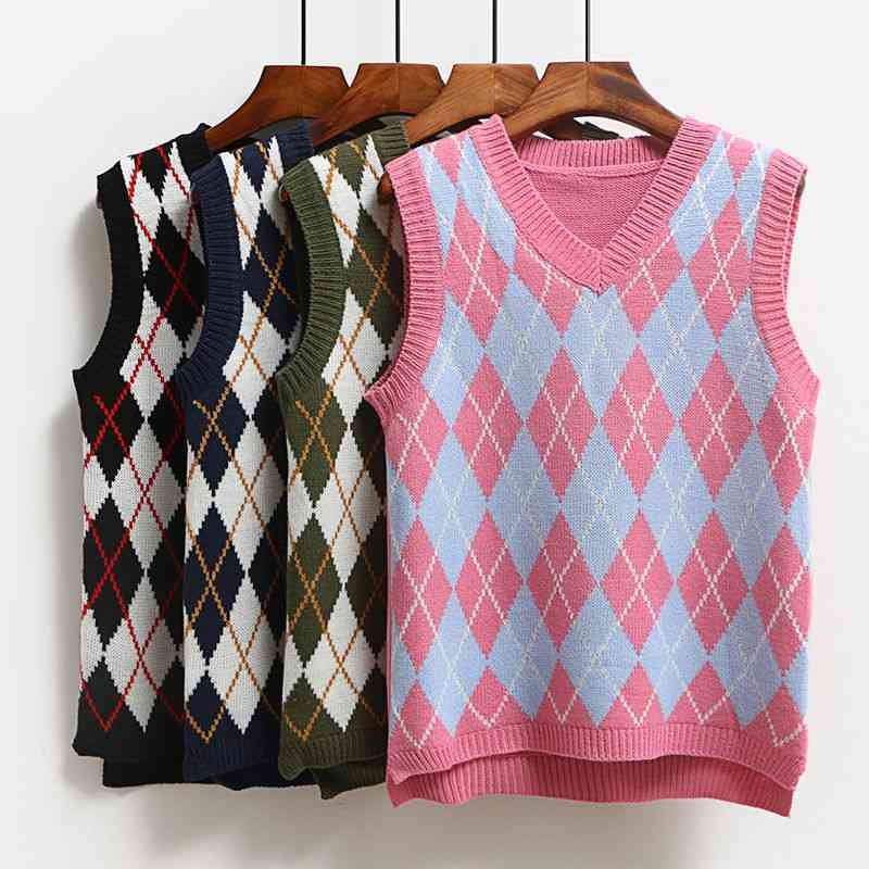 Knitted Vest, Casual Pullover Elasticity Sweater