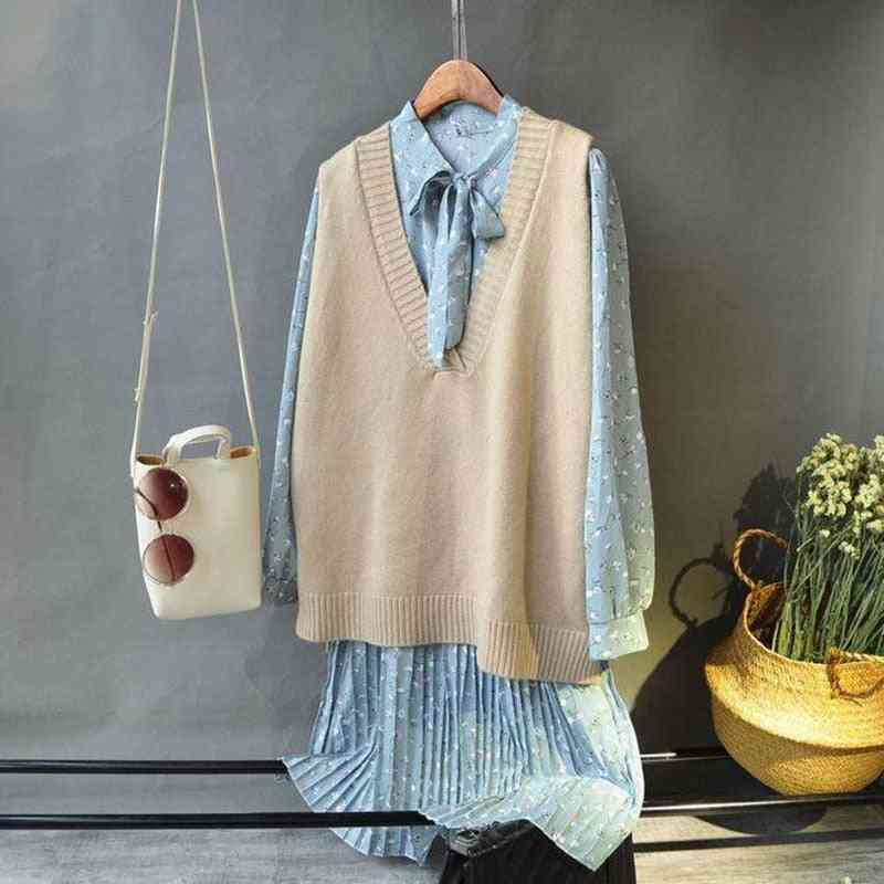 Vests, Solid V-neck Knitted Simple Chic Daily Streetwear Vintage