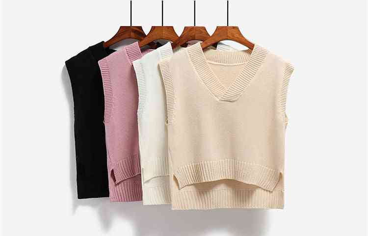 Vest Women Knitted V-neck, Loose Casual Style, Simple Side-slit, Asymmetrical Waistcoats