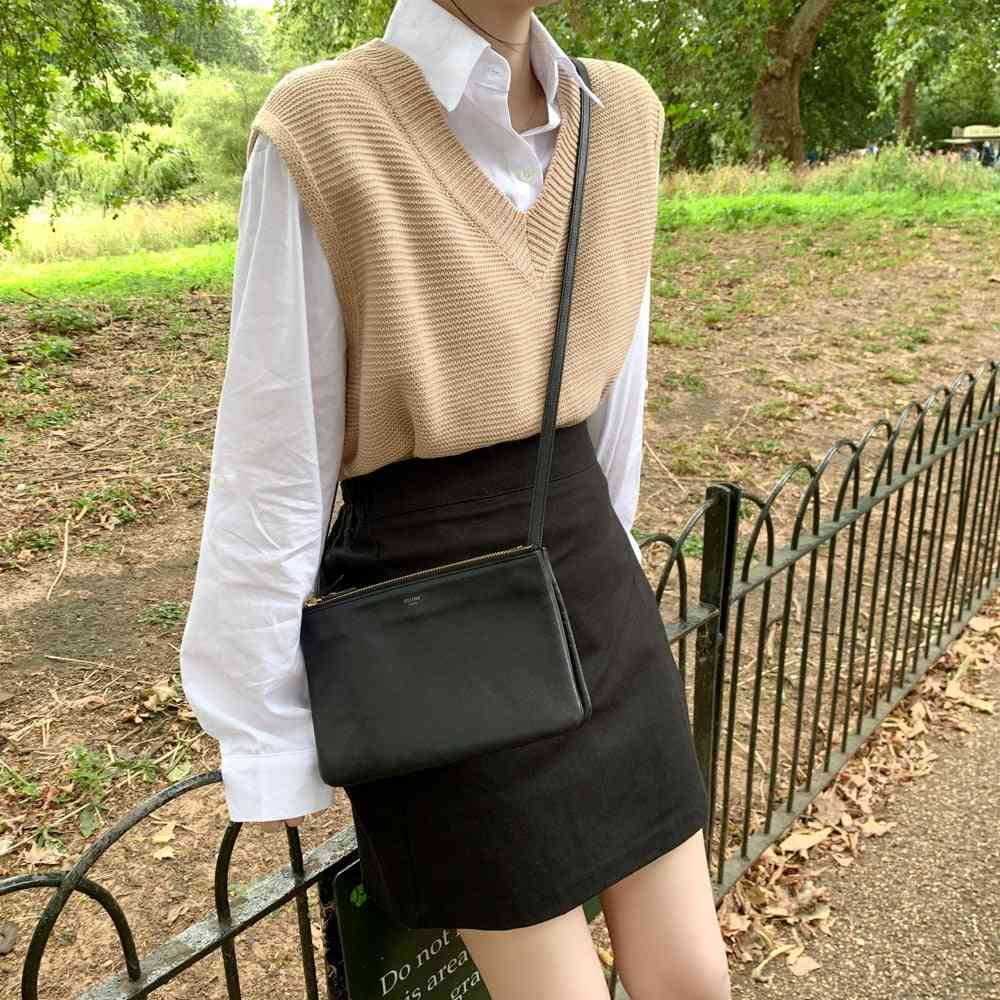 Solid Loose Sweater, Women's Vest Knitted V-neck Winter Outerwear