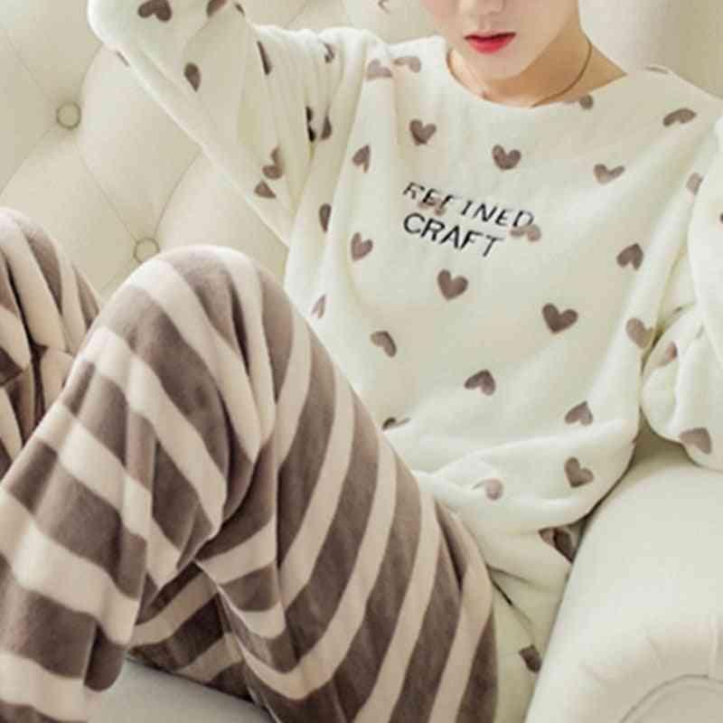 Winter Pajama Sleepwear Cute Cartoon Flannel Set, Warm Round Neck