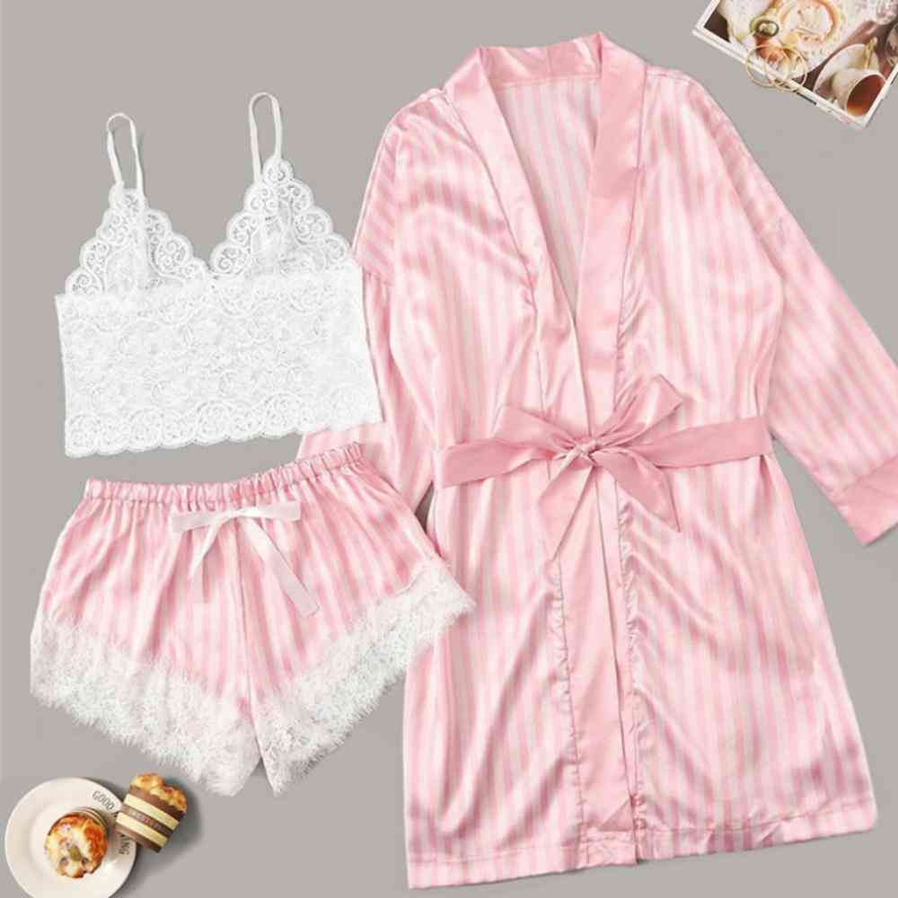 Long Sleeve Women Pajamas Lace Lingerie Nightwear Underwear Sleepwear Suit