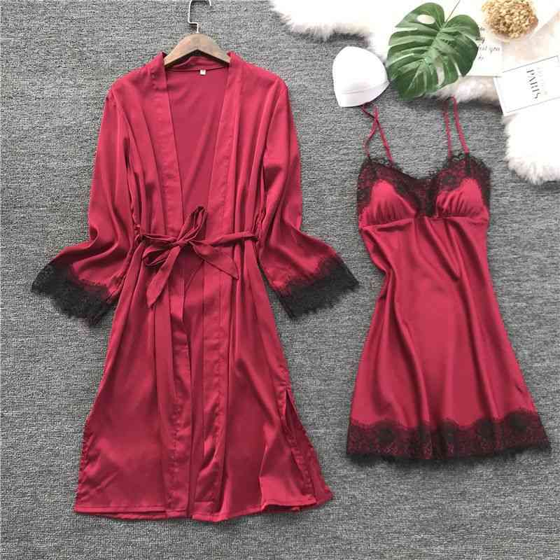 Women Summer Silk Robe Gown Set, Sleepwear Dress