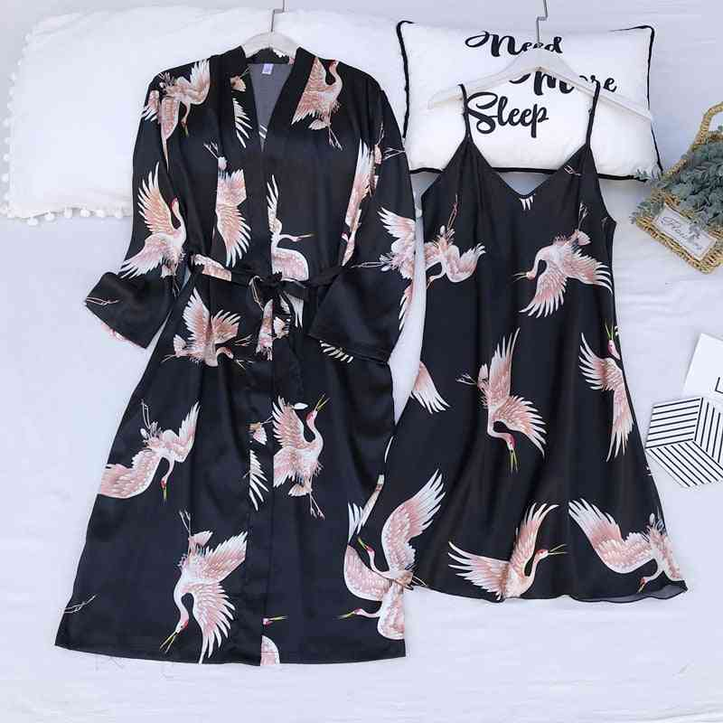Satin Bathrobe Gown Print Cranes, Sleepwear Summer Nightgown