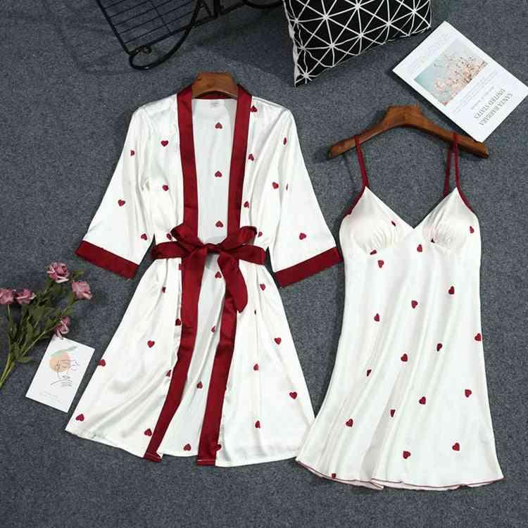 Summer Print Robe Set With Belt Chest Pad Bathrobe Satin Soft Touch