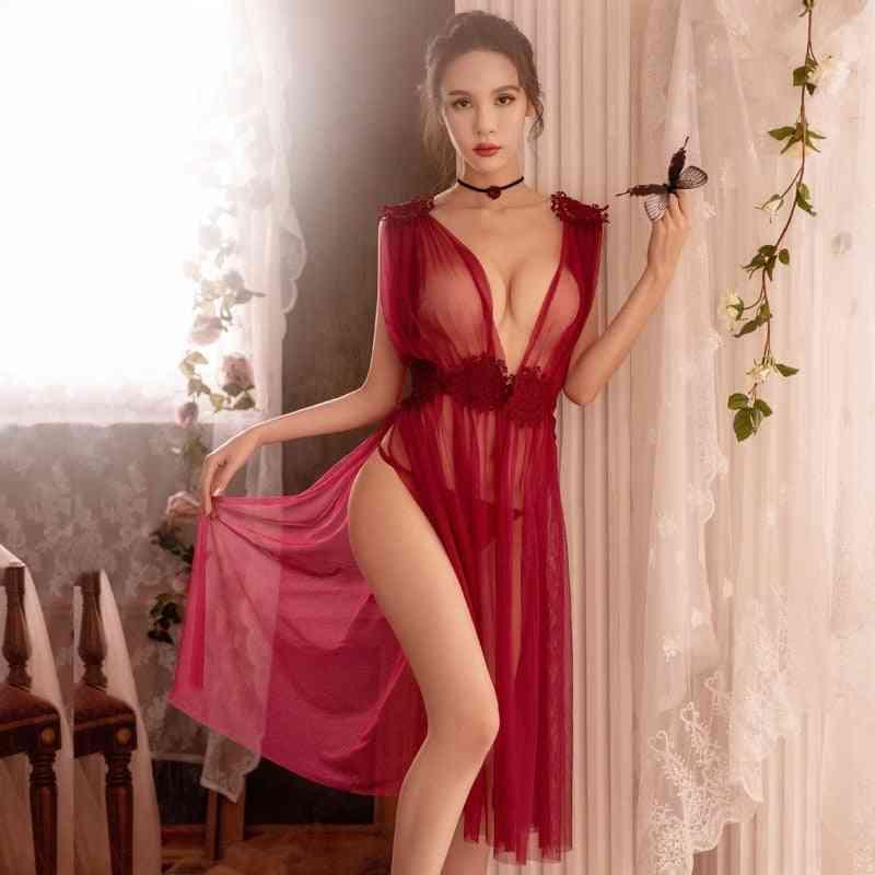 Lingerie Temptation Mesh Nightdress, Thin Section V-neck Lace Strap Underwear Dress