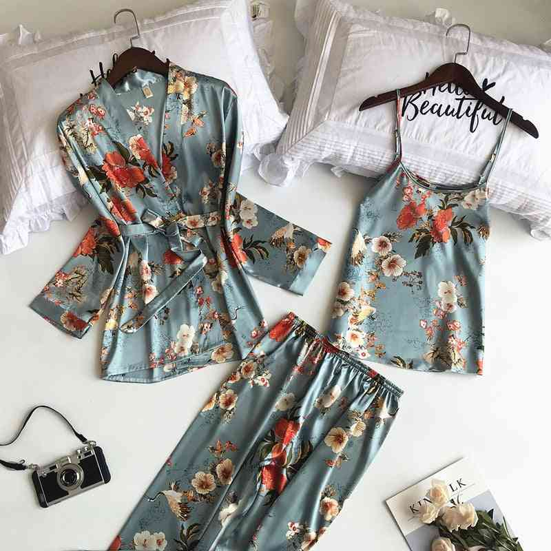 Printing Women Robe Spaghetti Strap Cardigan Pant Set, High Quality Pajamas