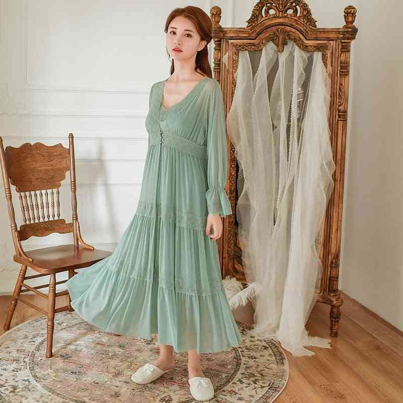 Soft Modal Women's Robe Sets, Vintage Princess Long Sleepwear Tiered Night Dress