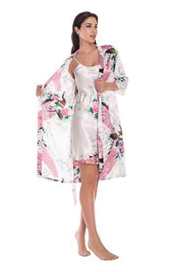 2-piece Set- Silk Peacock, Kimono Robes, Sexy Lingerie, Satin Nightgown