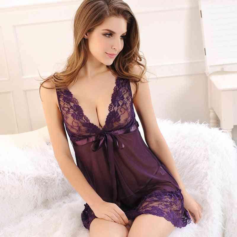 Night Sleep Dress, Backless Nighties Silk Underwear