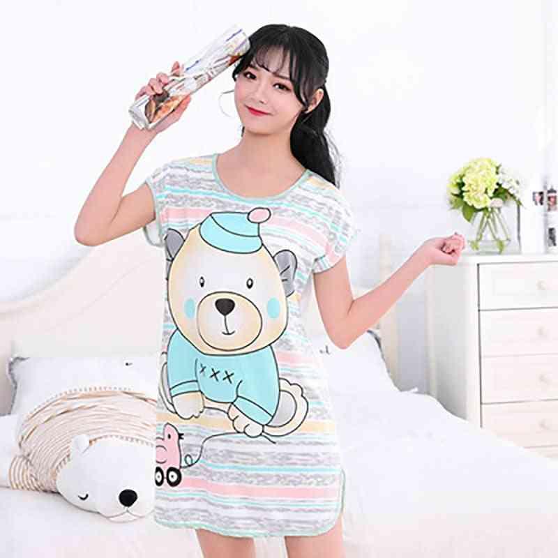 Print Cartoon Sleepwear Round Neck Lingerie Cute Nightdress