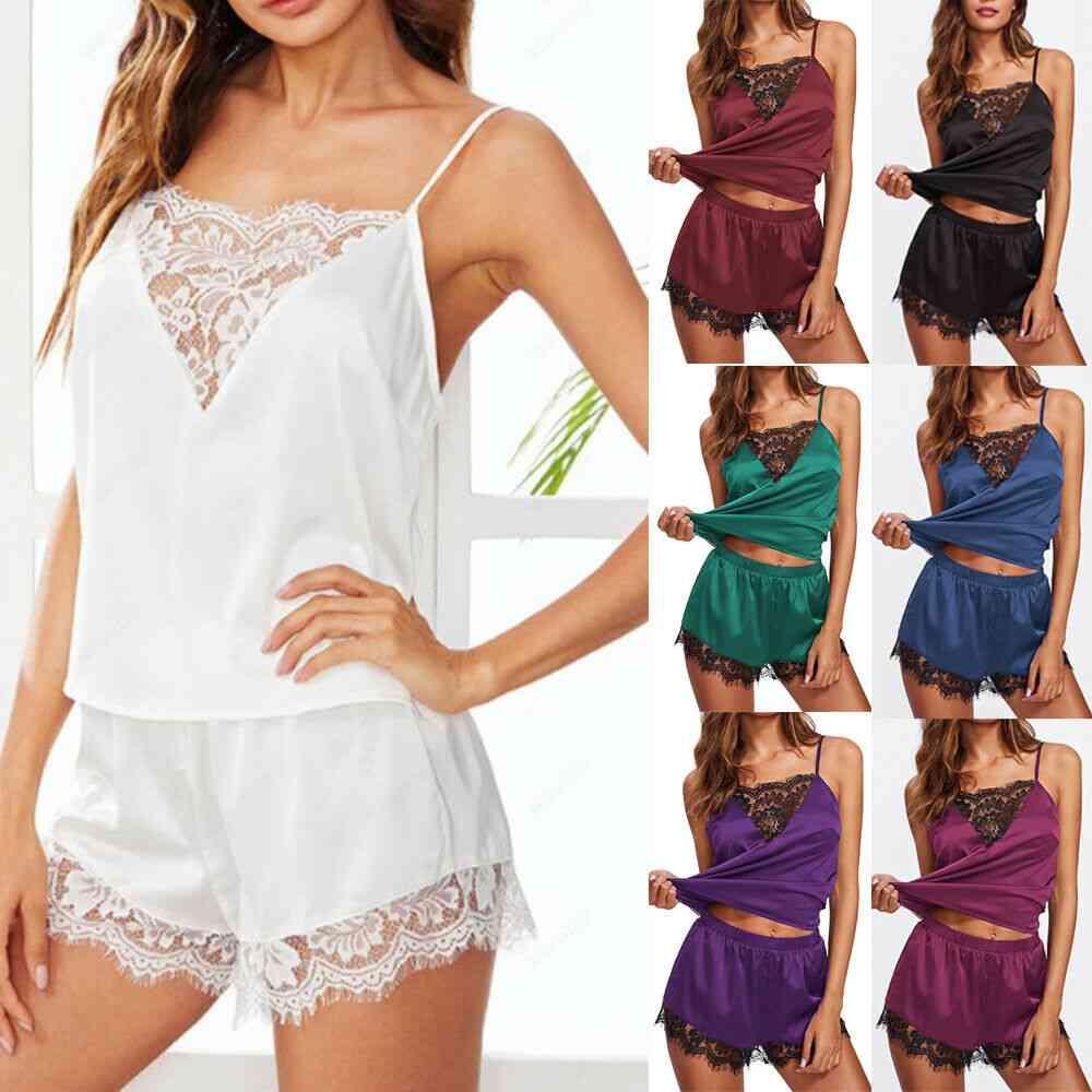 Satin Lingerie, Elegant Sleeveless, Top & Shorts Night Suit, Pajamas Set