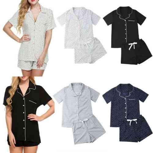Women Satin Lingerie Lace Pajamas Set, Elegant Sleeveless Top & Shorts Suits