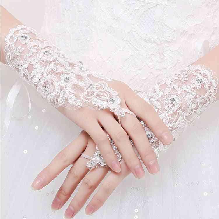 Short Women Fingerless Bridal Gloves
